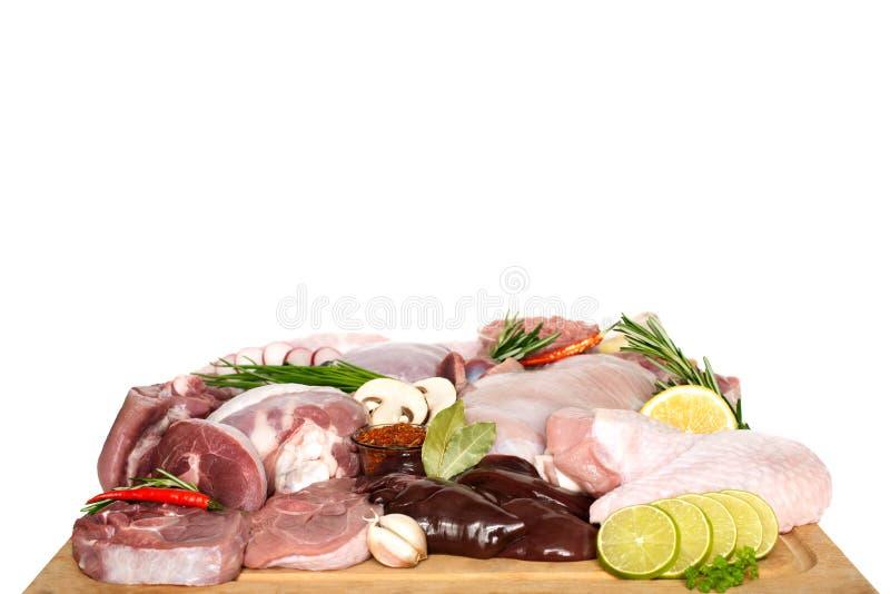 Tipos diferentes de carne do peru e de galinha, bifes fotos de stock royalty free
