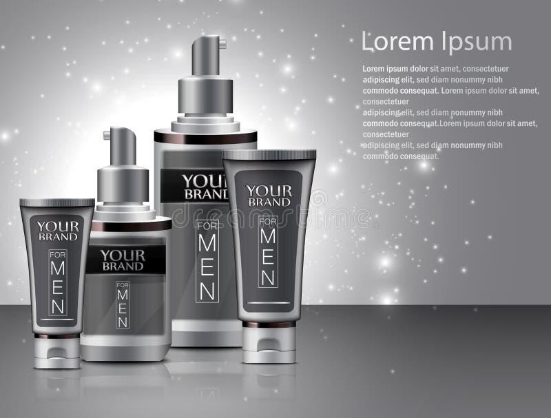 Tipos diferentes de cosméticos para homens ilustração stock