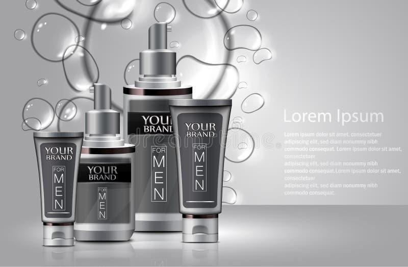Tipos diferentes de cosméticos para homens com bolhas ilustração do vetor