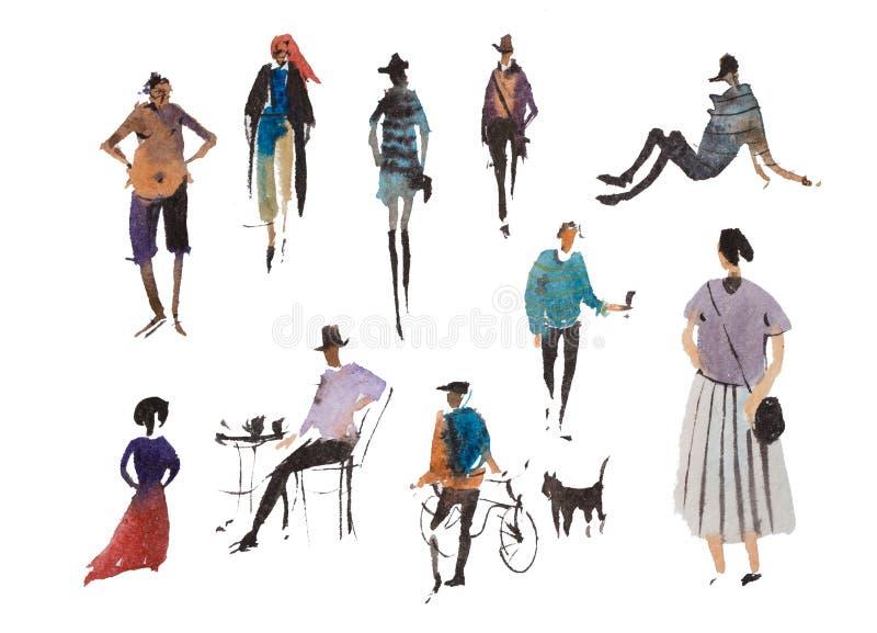 Tipos diferentes de desenho de esboço rápido de passeio da ilustração da aquarela dos povos ilustração do vetor