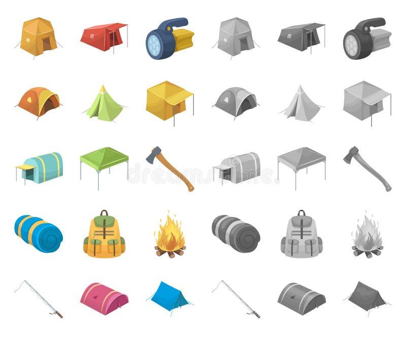 Tipos diferentes de desenhos animados das barracas, mono ícones em coleção ajustada para o projeto Símbolo provisório do vetor do ilustração royalty free