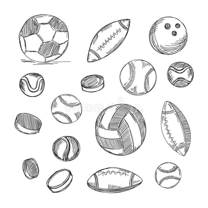 Tipos diferentes de grupo das bolas Garatujas dos esportes imagem de stock royalty free