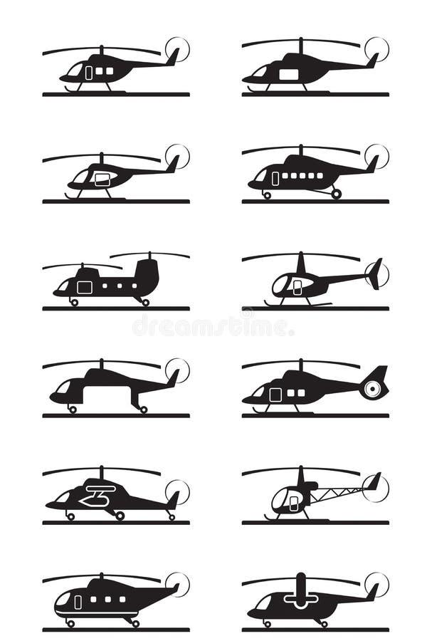 Tipos diferentes de helicópteros ilustração royalty free
