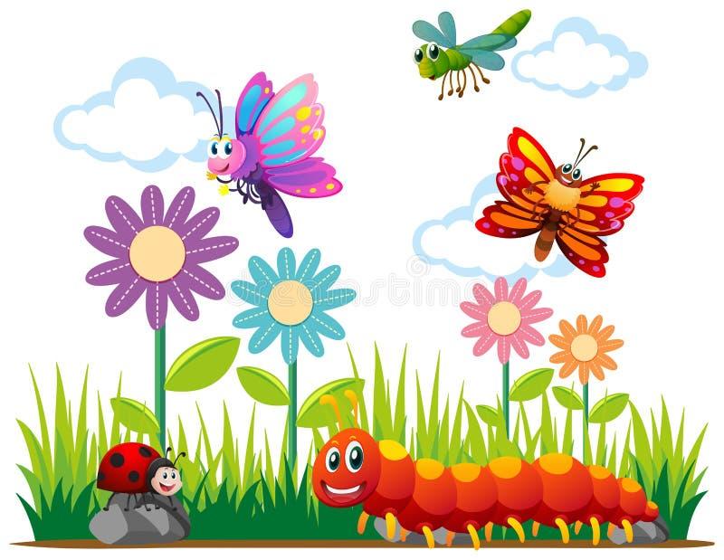 Tipos diferentes de insetos no parque ilustração royalty free