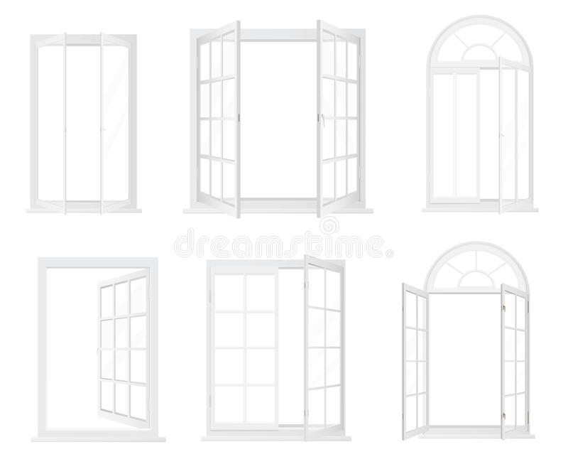 Tipos diferentes de janelas Ícones decorativos realísticos das janelas ajustados ilustração royalty free