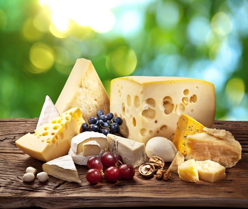 Tipos diferentes de queijo sobre a tabela de madeira velha imagens de stock royalty free