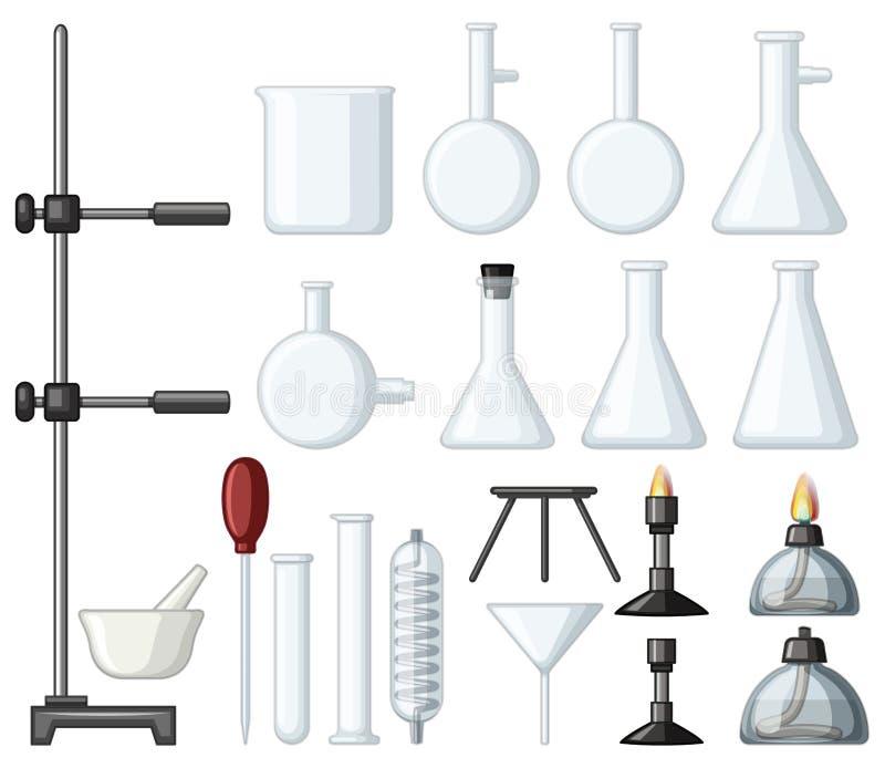Tipos diferentes de recipientes e de queimadores da ciência ilustração do vetor