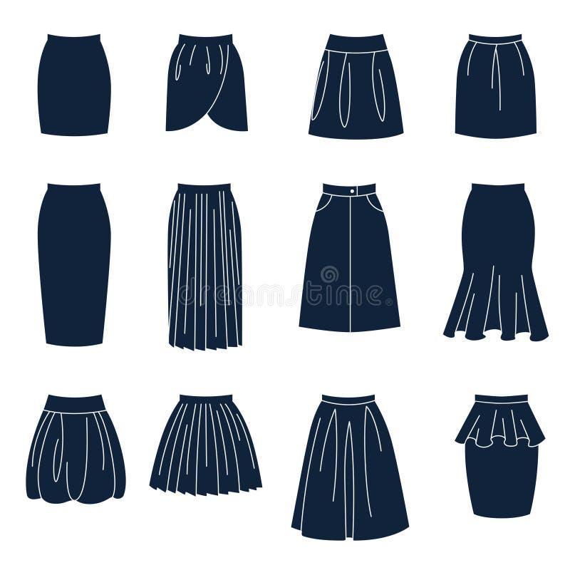 Tipos diferentes de saias das mulheres ilustração royalty free