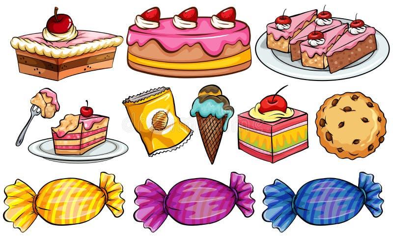 Tipos diferentes de sobremesas no branco ilustração stock