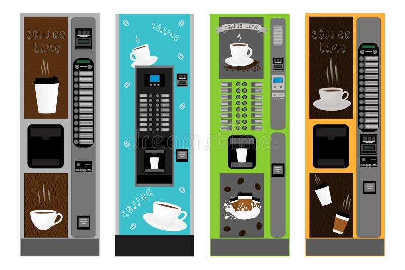Tipos diferentes grandes máquina do grupo colorido do café ilustração do vetor
