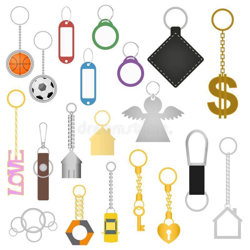 Tipos diferentes grupo de Keychains da cor dos desenhos animados Vetor ilustração stock