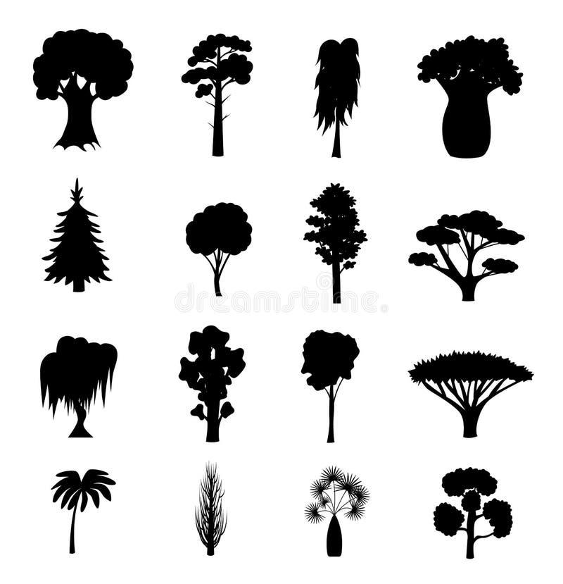 Tipos diferentes pretos ícones da árvore da silhueta ajustados Vetor ilustração royalty free