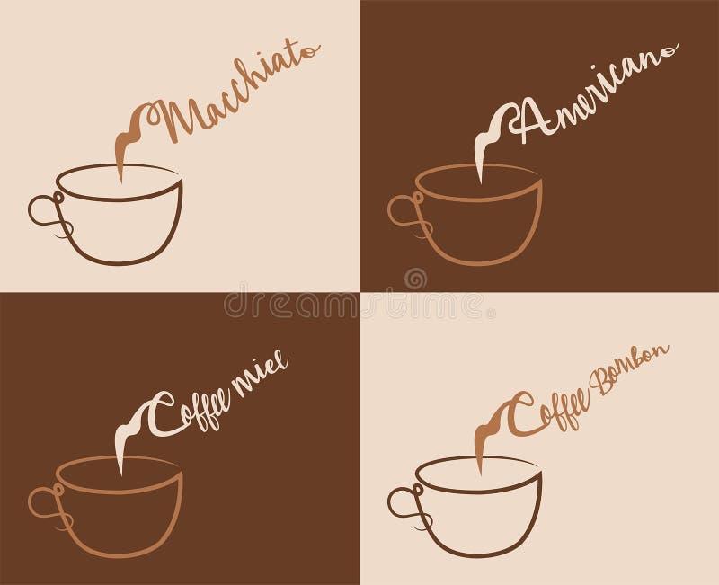Tipos do café com menu do vapor ilustração stock