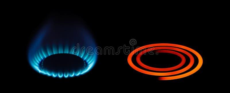 Tipos do gás do propano ou da energia elétrica imagem de stock