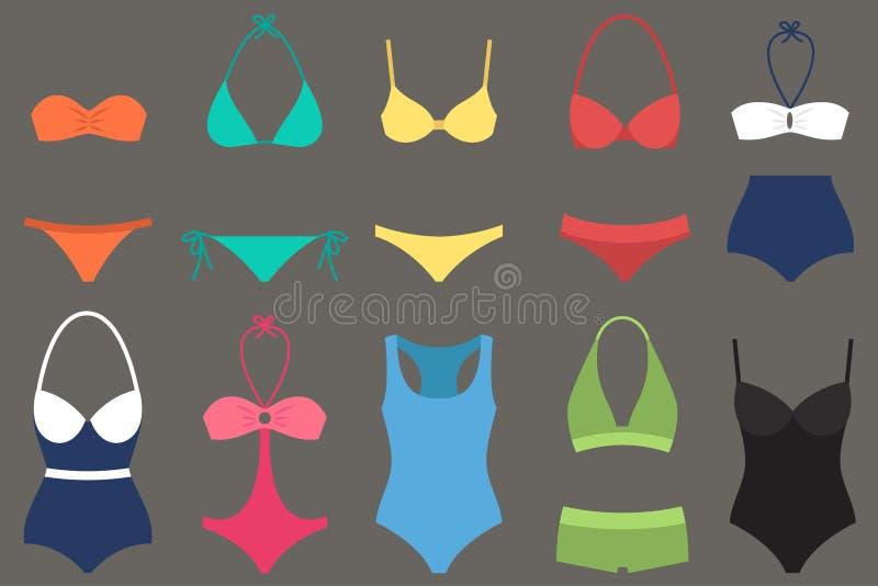 Tipos do roupa de banho das mulheres ilustração stock