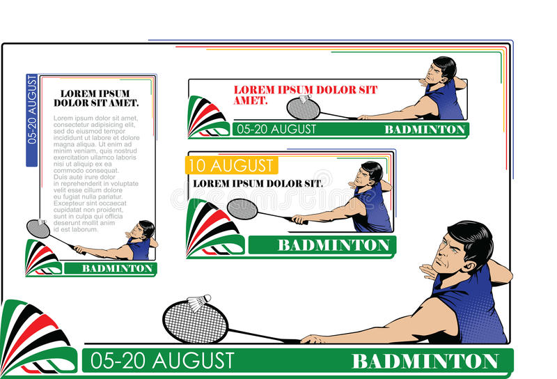Tipos do verão dos esportes badminton ilustração do vetor