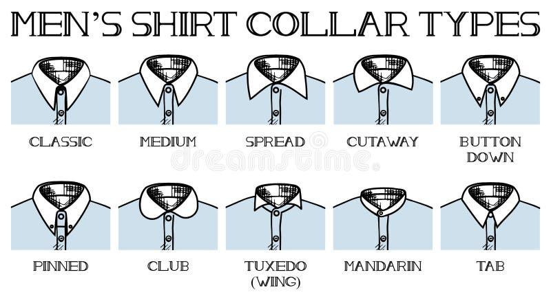 Tipos dos colares da camisa ilustração do vetor