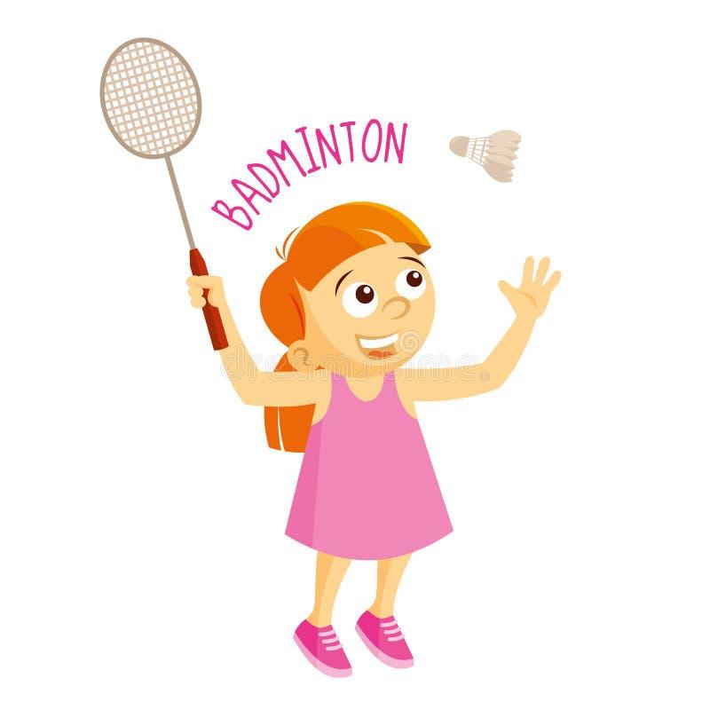 Tipos dos esportes atleta badminton ilustração do vetor