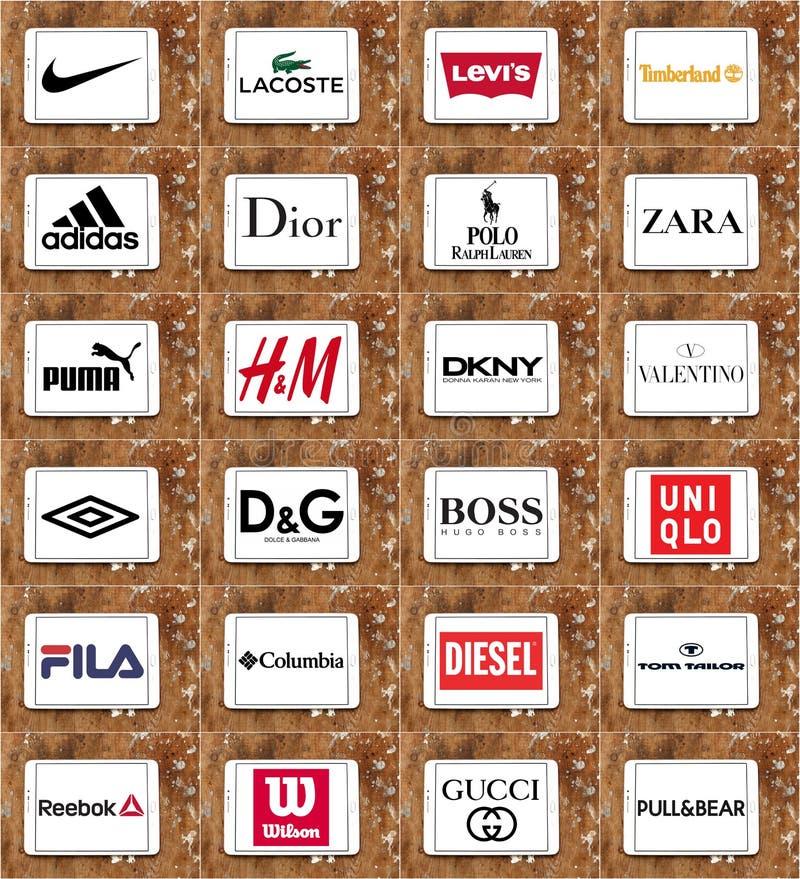 Tipos e logotipos da roupa