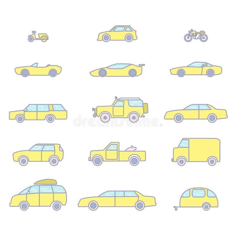 Tipos iconos del coche del esquema fijados libre illustration