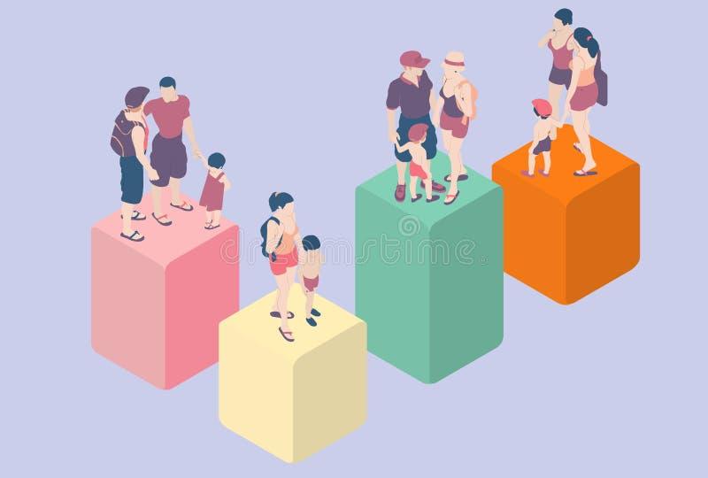 Tipos isométricos de la familia de Infographic - LGBT incluido stock de ilustración