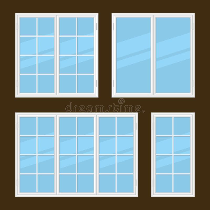 Tipos lisos de Windows do estilo ajustados Vetor ilustração do vetor