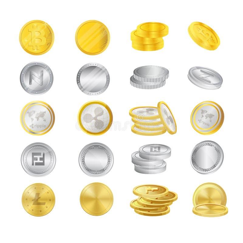 Tipos modernos de moneda crypto, de oro de monedas y de metal plateado ilustración del vector