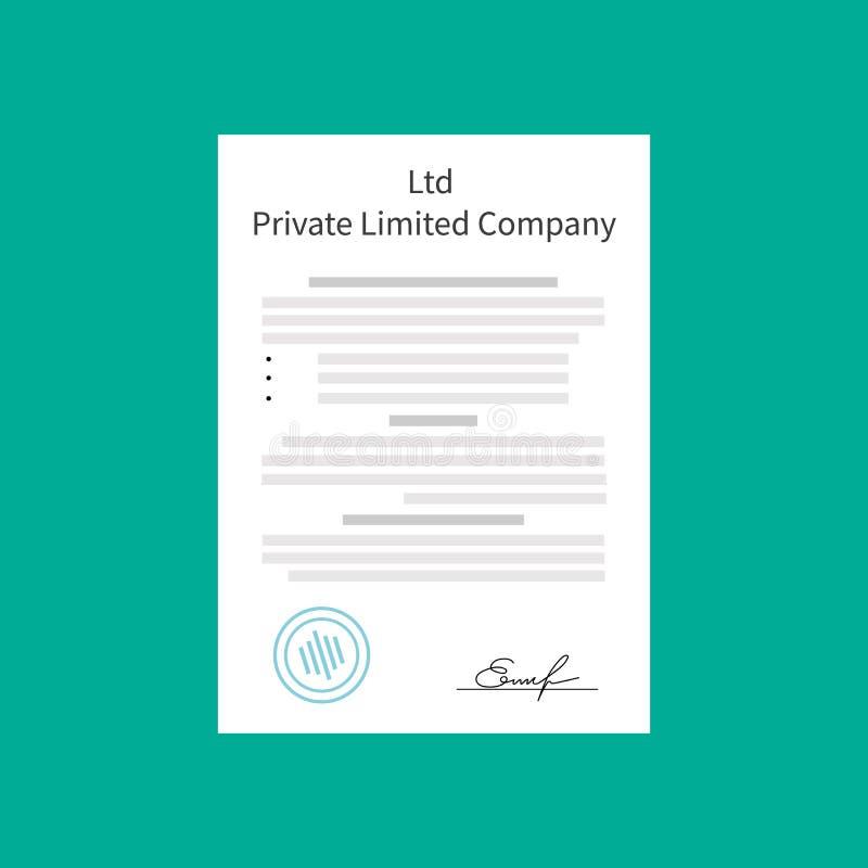 Tipos privados de la sociedad de responsabilidad limitada del Ltd de entidad de la organización de la corporación stock de ilustración