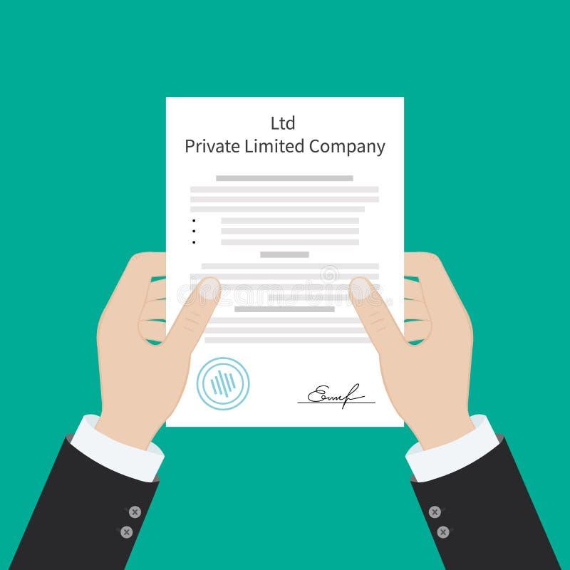 Tipos privados de la sociedad de responsabilidad limitada del Ltd de entidad de la organización de la corporación ilustración del vector