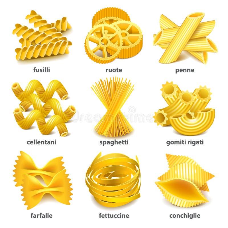 Tipos sistema de las pastas del vector de los iconos stock de ilustración