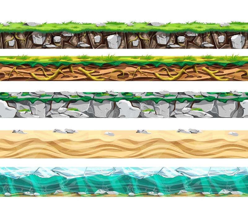 Tipos superficiales de la tierra diversos fijados ÂŒ ilustración del vector