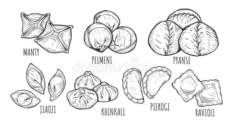 Tipos y estilos de las bolas de masa hervida stock de ilustración