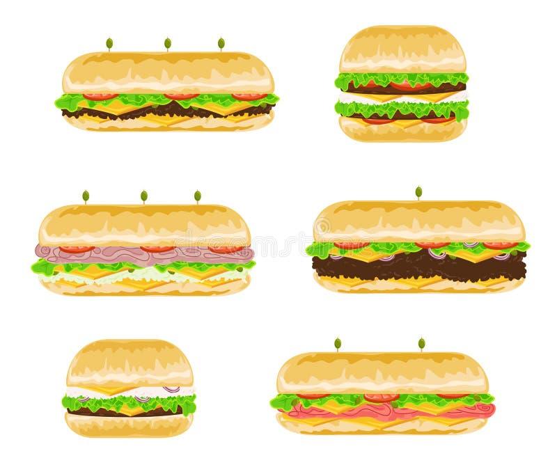 Tipos y sabores de bocadillos ilustración del vector