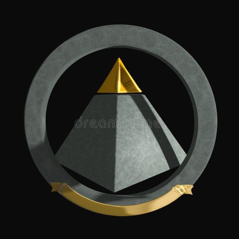tippad guldpyramid royaltyfri illustrationer