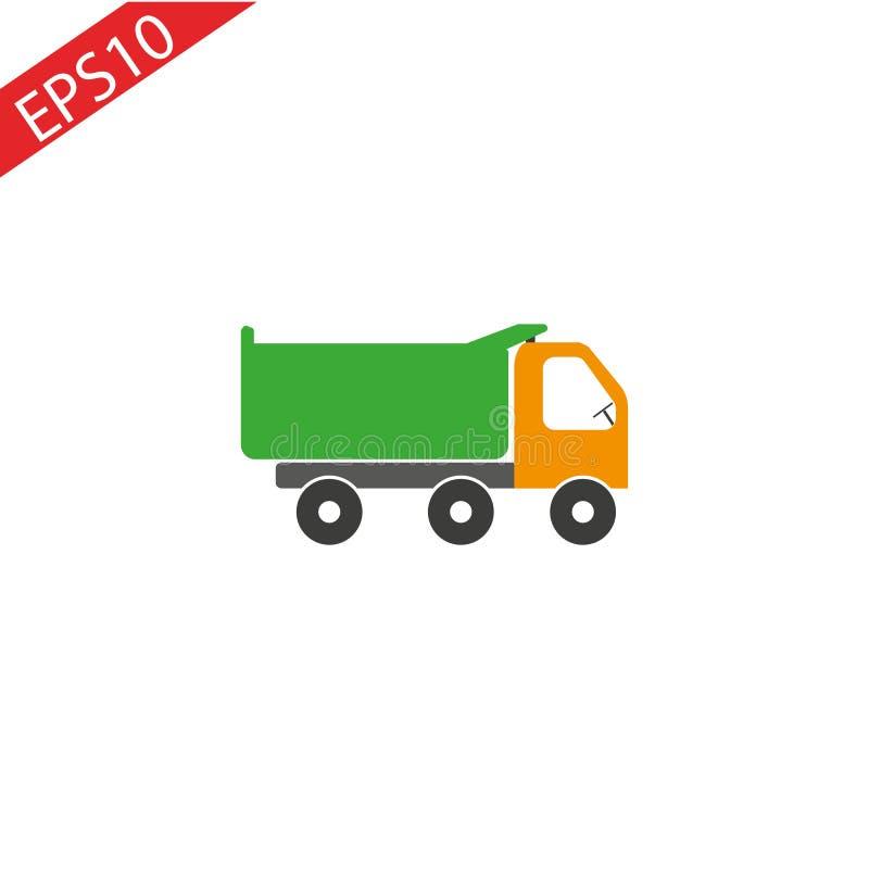tipper Camión volquete usado en la construcción en un fondo blanco ilustración del vector