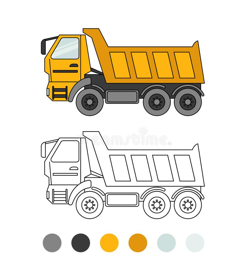 Game for kids. Tipper line illustration. The coloring book for preschool kids with simple educational gaming level.Special equipment stock illustration