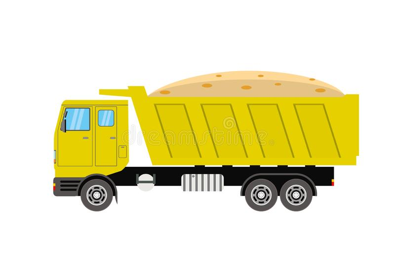 Tipper Truck Side View jaune, d'isolement sur le fond blanc illustration de vecteur