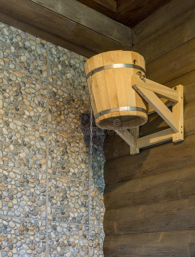 Tipping bucket for sauna royalty free stock photo