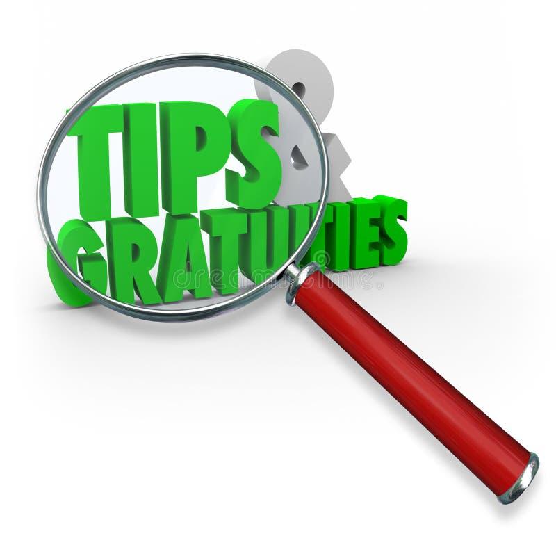 Tipps und Gratifikationen 3d fasst das große Lupen-zusätzliche Geld ab vektor abbildung