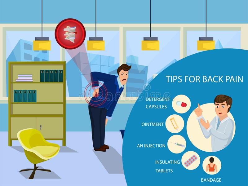 Tips for Back Pain for Businessman. Vector. Tips for Back Pain for Businessman. Businessman feeling Pain in Back. Man has Back Pain on job. Medicine and health stock illustration