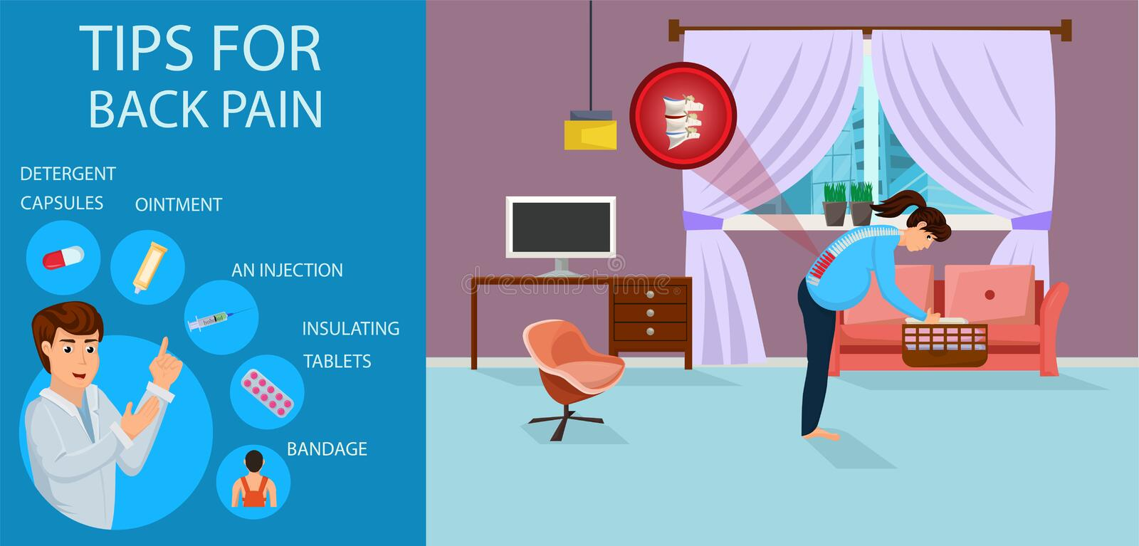 Tips for Back Pain for Pregnant. Vector. vector illustration