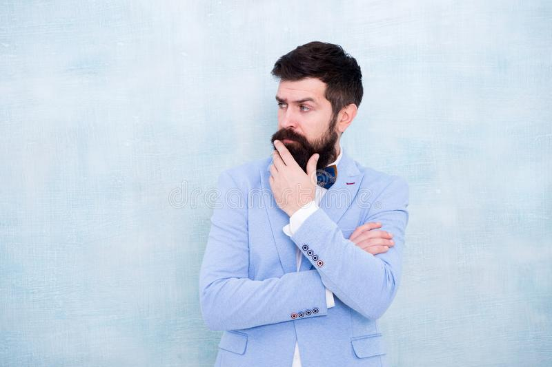 Tips for grooms. How to beat nerves on wedding day. Man bearded hipster formal suit with bow tie. Wedding fashion. Formal style perfect outfit. Impeccable stock images