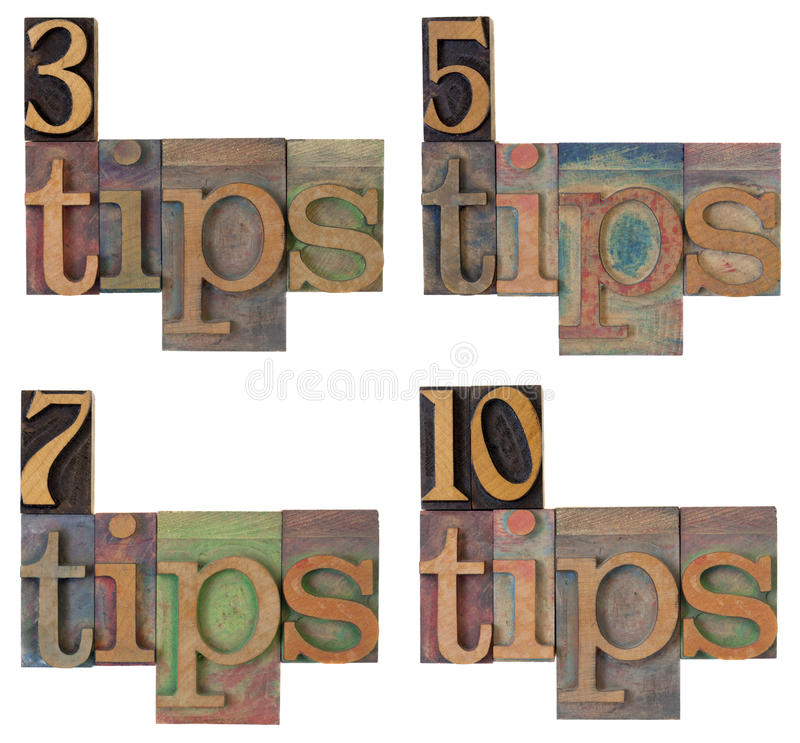 Tips - headline of a list stock photography