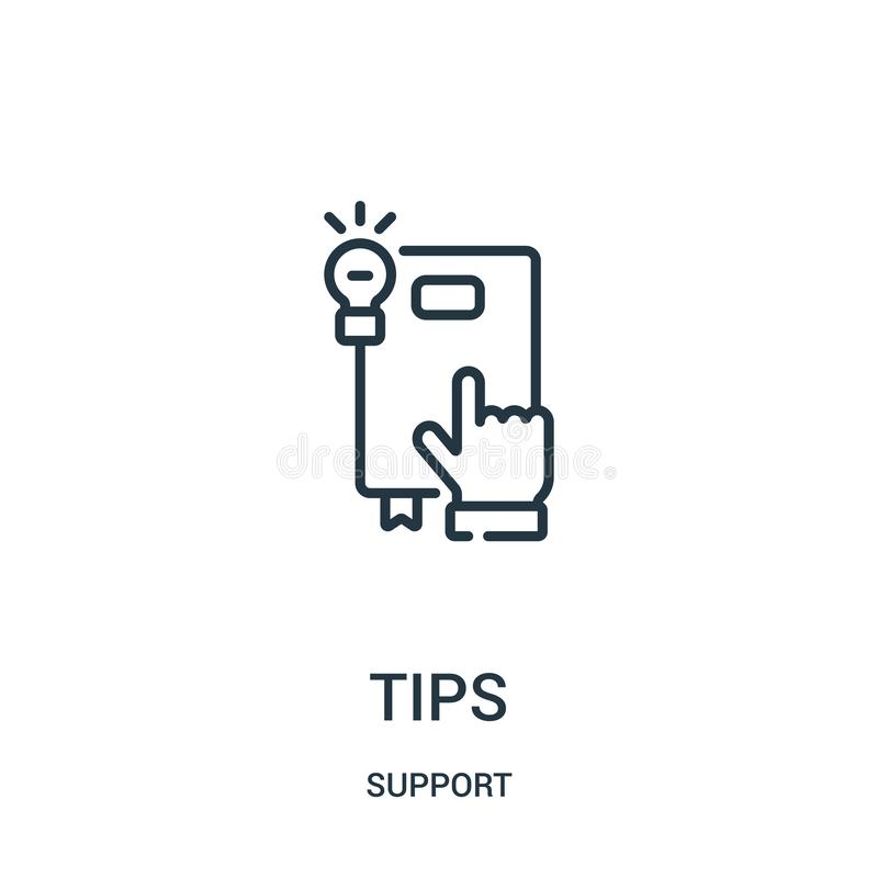 tips icon vector from support collection. Thin line tips outline icon vector illustration. Linear symbol for use on web and mobile stock illustration