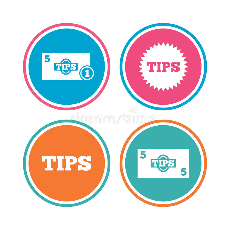 Tips Icons Cash With Coin Money Symbol Stock Vector Illustration