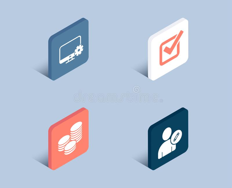 Tips, Monitor settings and Checkbox icons. Edit user sign. Cash coins, Service cogwheel, Approved tick. stock illustration