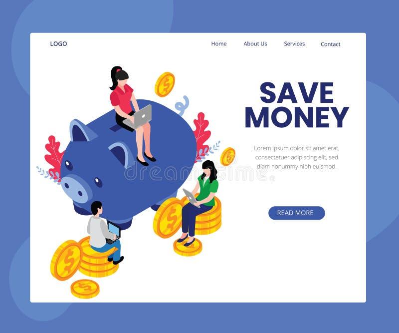 Tips to Save Money Online Isometric Artwork Concept stock illustration