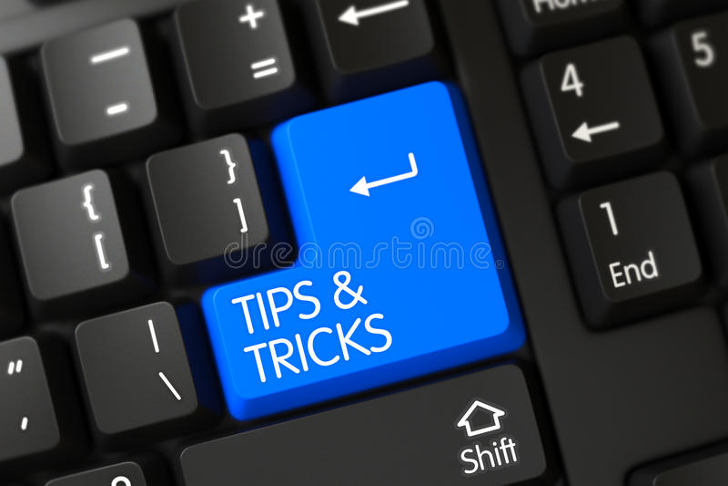 Tips and Tricks - Computer Key. 3D. stock photos
