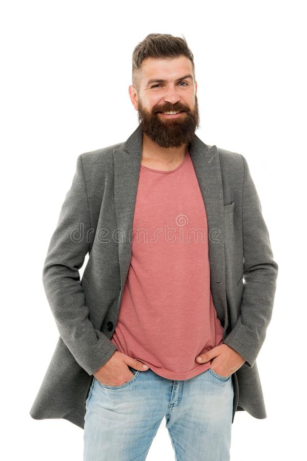Tips and tricks handsome man. Attractive and handsome. Menswear and fashion concept. Bearded and handsome. Bearded. Hipster stylish fashionable jacket. Man wear royalty free stock photo
