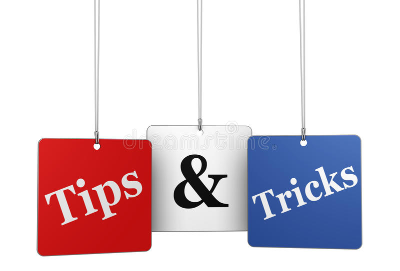 Tips And Tricks Web Tags. Website, Internet and blog concept with tips & tricks word and sign on hanged tags isolated on white background